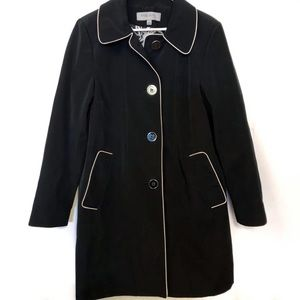 Anne Klein Long Black Button Up Lightweight Jacket
